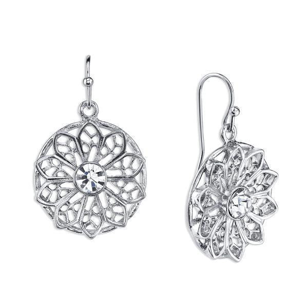 Silver-Tone Crystal Filigree Round Drop Earrings