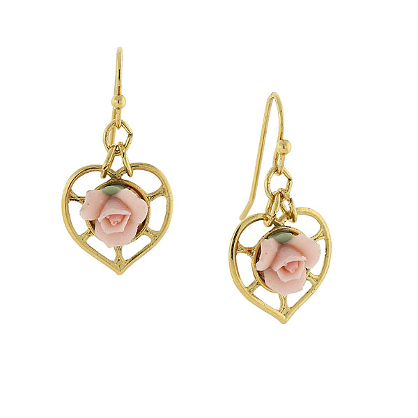 14K Gold-Dipped Heart With Porcelain Rose Earrings LIGHT PURPLE