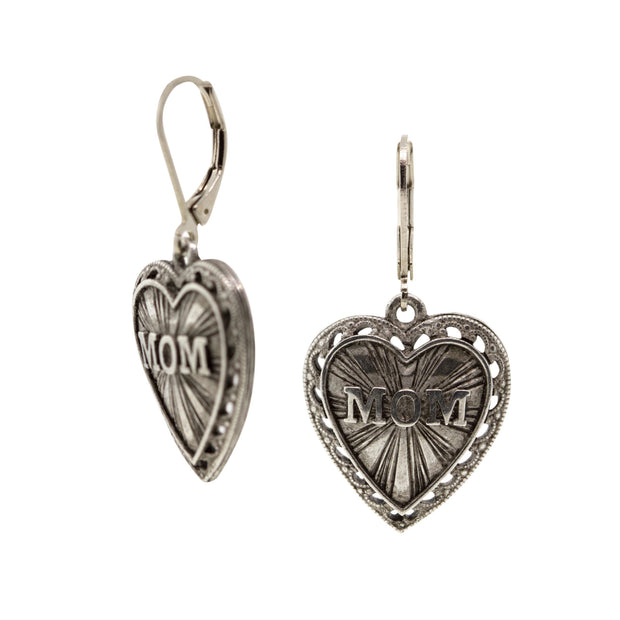 Pewter Mom Heart Drop Earrings