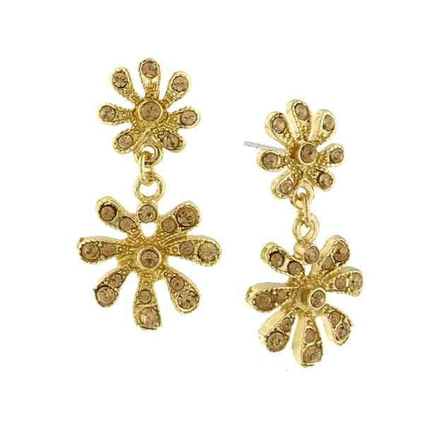 Gold-Tone Light Topaz Crystal Flower Drop Earrings