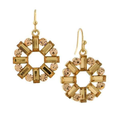 Gold Tone Light Topaz Round Baguette Drop Earrings