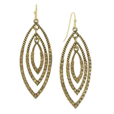 Gold Tone Light Topaz Crystal Drop Earrings