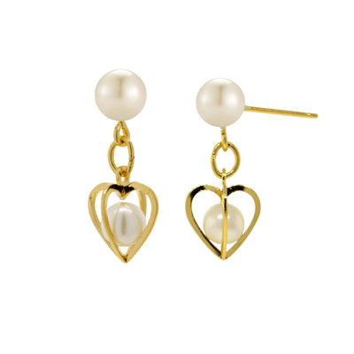 14K Gold Dipped Pear Heart Drop Earrings
