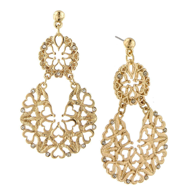 Gold-Tone Crystal Large Drop Earrings