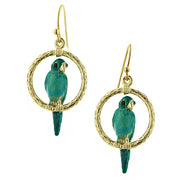 Gold-Tone Green Enamel Parrot Drop Earrings