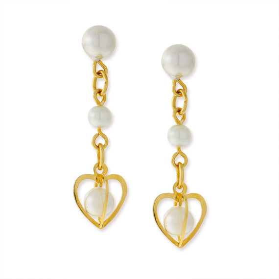 14K Gold Dipped Double Pearl Drop Heart Earrings