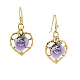 1928 Jewelry 14K Gold-Dipped Heart and Lavender Porcelain Rose Earrings