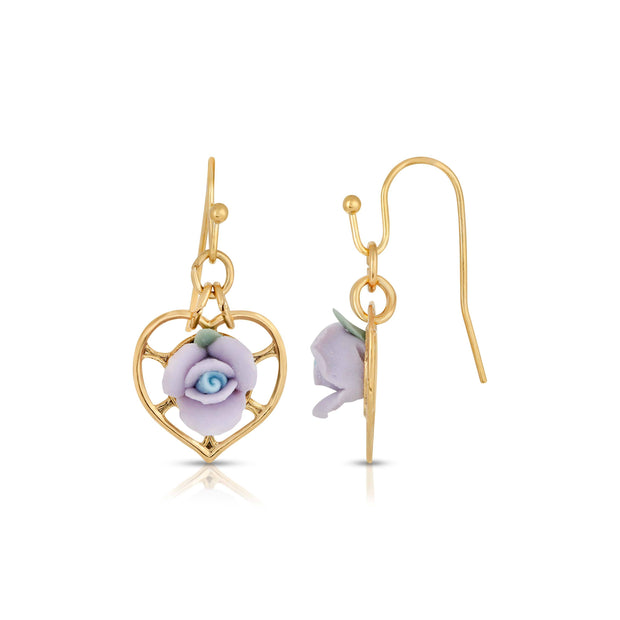 14K Gold Dipped Heart With Porcelain Rose Earrings