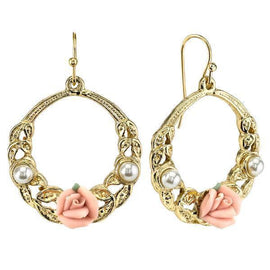 Gold Tone Pink Porcelain Rose with Simulated Pearl Front Face Hoop Earrings