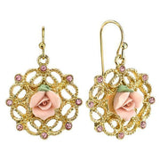 Gold Tone Pink Porcelain Rose With Pink Accent Filigree Drop Earrings