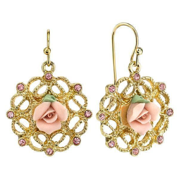 Gold-Tone Pink Porcelain Rose With Pink Accent Filigree Drop Earrings