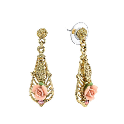 Gold Tone Pink Porcelain Rose With Pink Accent Drop Earrings