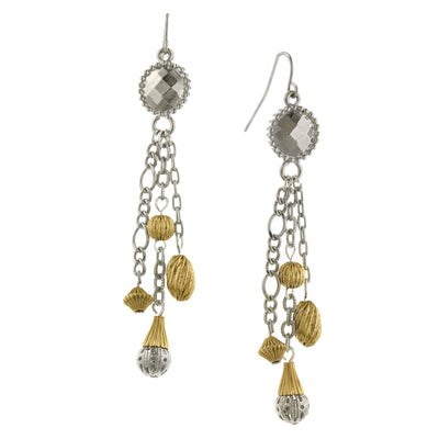 Silver Tone And Gold Tone Tassel Earrings