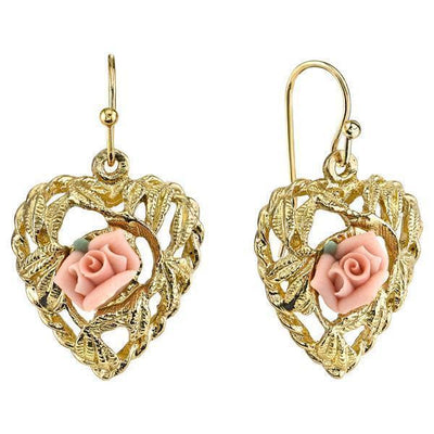 Gold Tone Pink Porcelain Rose Heart Earrings