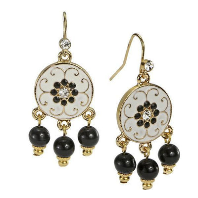 Gold Tone Black And White Enamel With Crystal Accent Drop Earrings