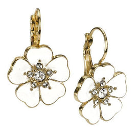 Gold-Tone White Enamel and Crystal Flower Drop Earrings