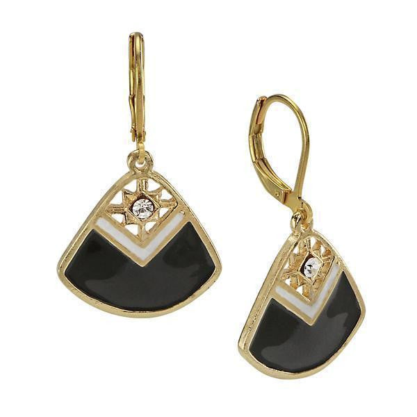 Gold-Tone Black And White With Crystal Accent Enamel Fan Earrings