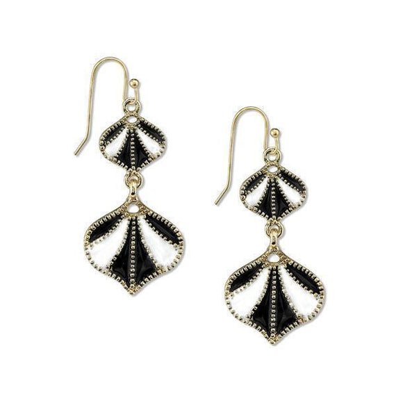 Gold-Tone Black and White Enamel Drop Earrings