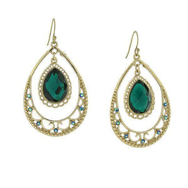 Gold-Tone Emerald Green Color Suspended Pearshape Hoop Drop Earrings