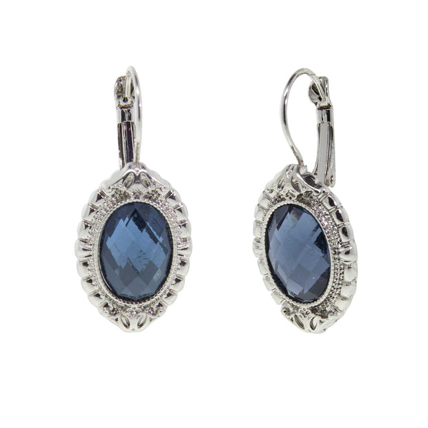Silver-Tone Blue Faceted Drop Earrings