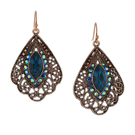 Copper-Tone Blue Zircon AB Filigree Fan Earrings