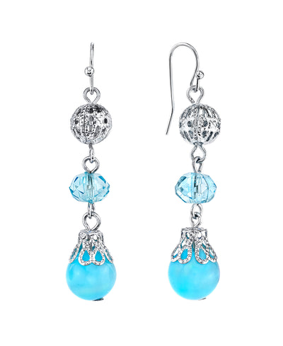 Silver-Tone Blue Beaded Drop Earrings