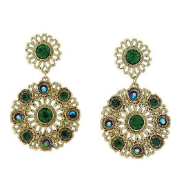 Fashion Jewelry - 2028 Color Filigree Gold Tone Emerald Color Round Drop Earrings