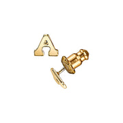 Letter A 14K Gold Dipped Initial Button Earrings