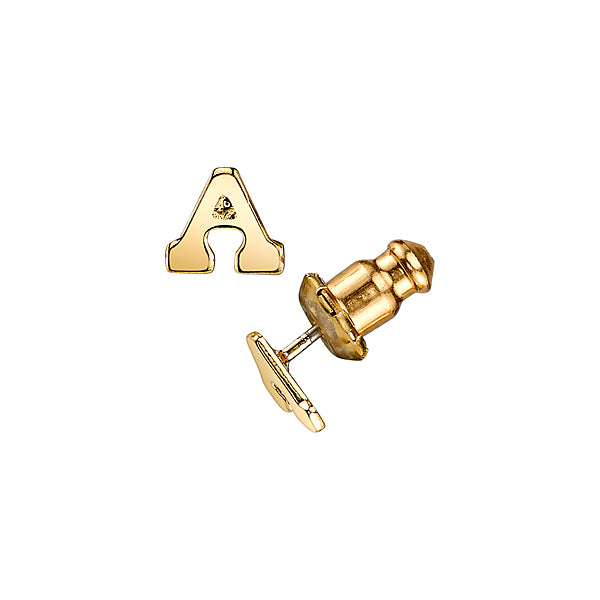 14K Gold-Dipped Initial Button Earrings