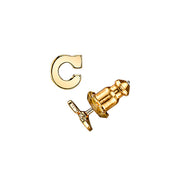 Letter C 14K Gold Dipped Initial Button Earrings