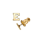 Letter E 14K Gold Dipped Initial Button Earrings