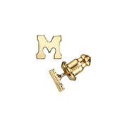 Letter M 14K Gold Dipped Initial H Button Earrings