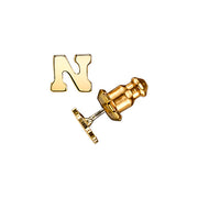 Letter N 14K Gold Dipped Initial Button Earrings