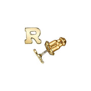 Letter R 14K Gold Dipped Initial O Button Earrings