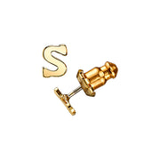 Letter S 14K Gold Dipped Initial Button Earrings