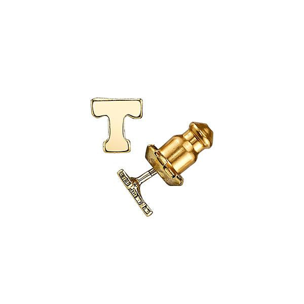 Letter T 14K Gold Dipped Initial R Button Earrings