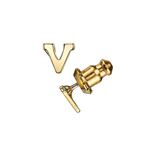 14K Gold-Dipped Initial S Button Earrings