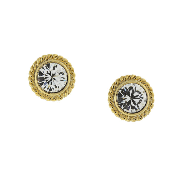 Gold Tone Clear Crystal Round Button Earrings