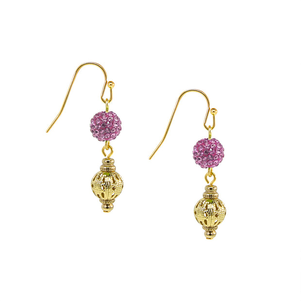 Gold Tone Fireball And Filigree Drop Earrings