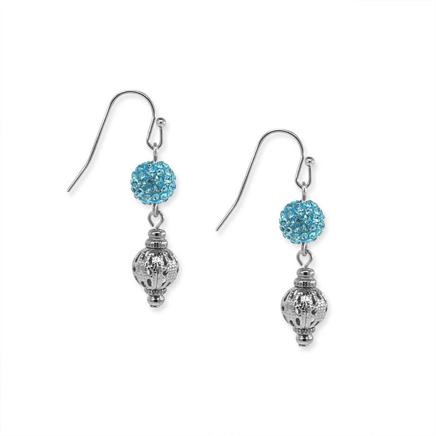Gold Tone Fireball And Filigree Drop Earrings Light Blue