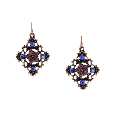 Copper Tone Purple And Purple Ab Filigree Drop Earrings