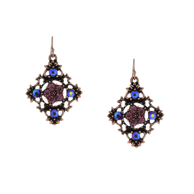 Copper-Tone Purple and Purple AB Filigree Drop Earrings