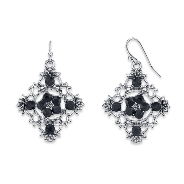 Silver-Tone Black Filigree Drop Earrings