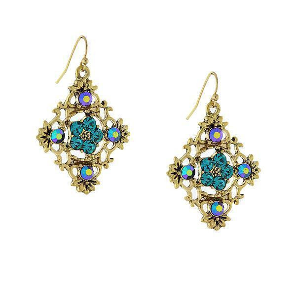 Gold Tone Green And Blue Ab Filigree Drop Earrings