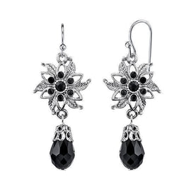 Silver-Tone Black Flower Drop Earrings