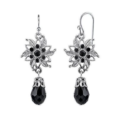 Silver Tone Black Flower Drop Earrings