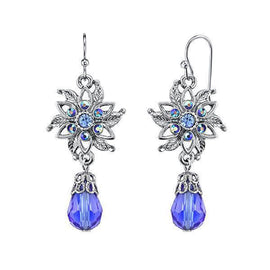 915b15d65 Silver-Tone Blue and Blue AB Flower Drop Earrings