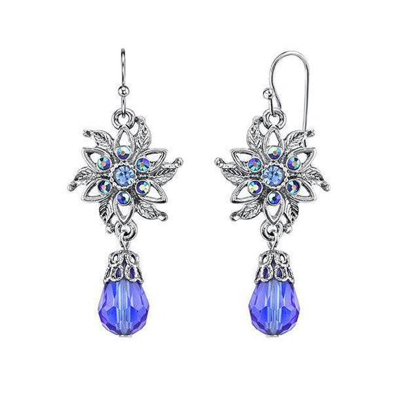 Silver-Tone Blue and Blue AB Flower Drop Earrings
