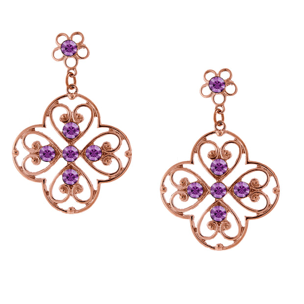 Copper Tone Purple Filigree Drop Earrings