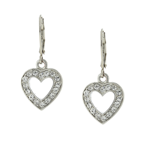Silver-Tone Crystal Heart Drop Earrings